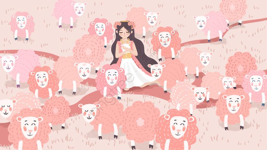 Original Hand Painted Illustration Of The Twelve Constellations Aries In Flock Girls, Aries, White Sheep, Twelve Constellations llustration image