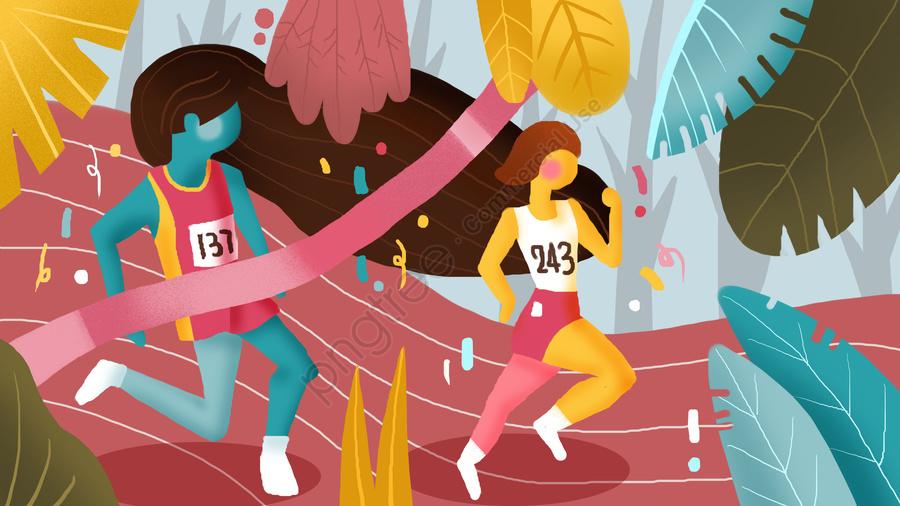 Asian games sports event running illustration, Đại Hội Thể Thao Châu Á, Thể Thao, Cạnh Tranh llustration image