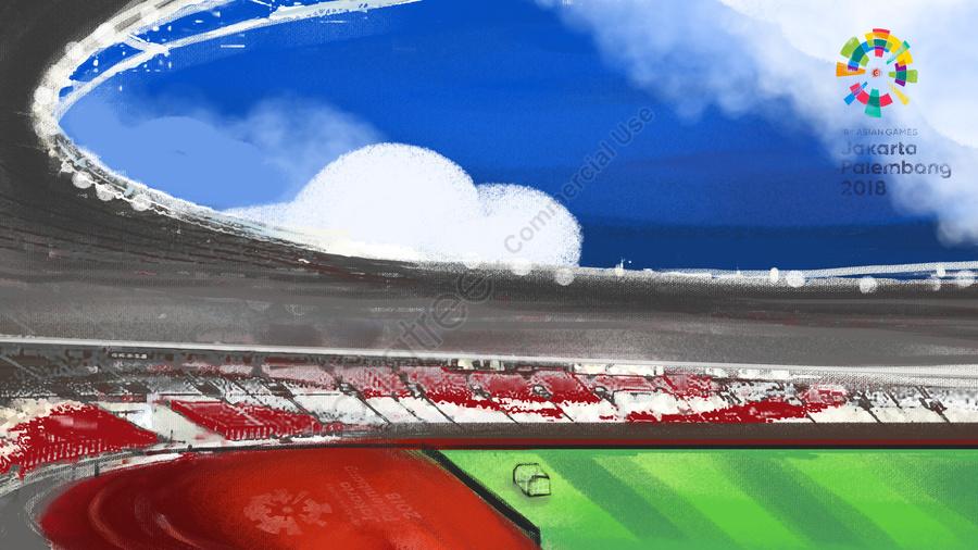 Permainan Asia Blue Sky Dan Awan Putih Stadium Runway Green, Permainan Asia, Pertandingan Sukan, 2018 llustration image