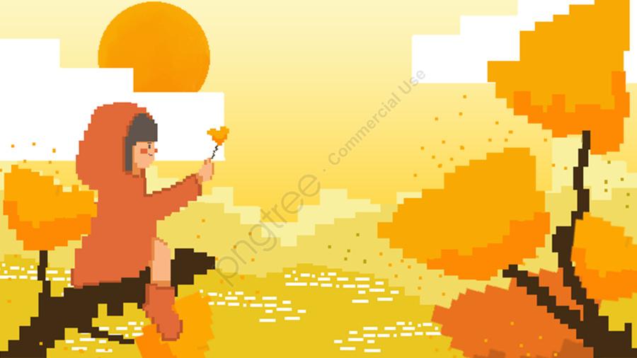가을 춘분 픽셀 바람 문자 식물 원본 손으로 그린 그림, 오색, 태양 용어, 24 개의 태양 용어 llustration image