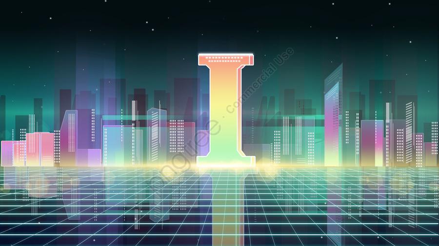 Letter 邂逅i warm color gradient city internet blockchain poster, Banner, H5, I llustration image