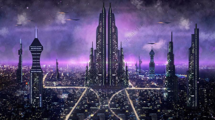 Фантастика город ночной вид мир спокойной ночи, баннер, Карта H5, Город будущего llustration image