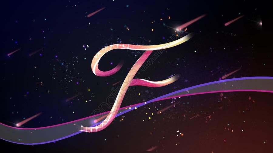 Ilustrasi Asal Neon Surat Pemandangan Kaki Langit F, Banner