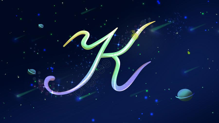 Original Illustration Neon Skyline Letter K, Banner, Wallpaper, Illustration llustration image