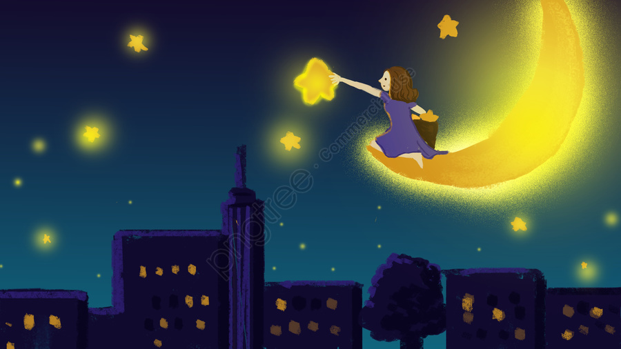 Beautiful dream healing wind night starry sky over the stars girl, Beautiful Dream, Healing Wind, Night llustration image