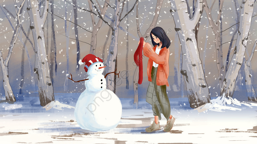 Original Watercolor Style Illustration Winter, Beginning Of Winter, Heavy Snow, Primary School llustration image