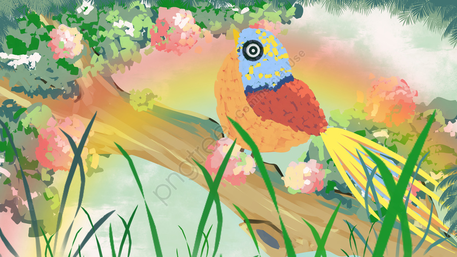 Flower bird rainbow cherry blossom illustration, Birds And Flowers, Rainbow, Cherry Blossoms llustration image