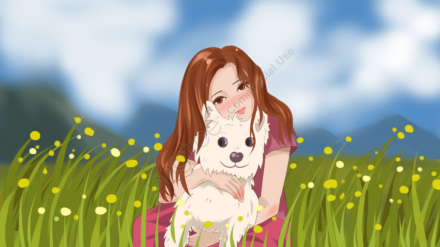 Cute illustration of a girl who is petting dog in the field, Blue Sky, White Clouds, Far Mountain llustration image