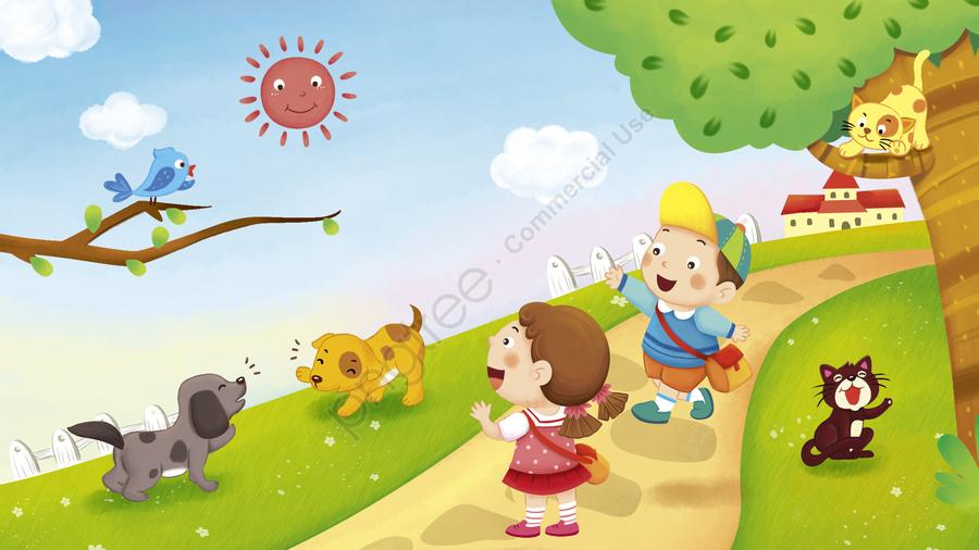 सुप्रभात दुनिया हैलो बच्चों स्कूल ताजा शैली का चित्रण, लड़का, लड़की, सुप्रभात llustration image