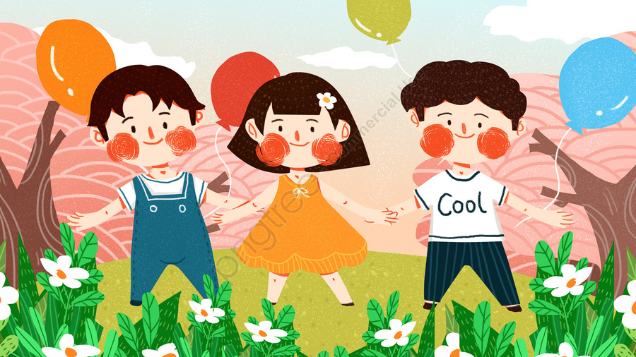 अंतर्राष्ट्रीय बाल दिवस बच्चे प्यारा सरल फ्लैट मूल चित्रण खेलते हैं, लड़का, लड़की, अंतर्राष्ट्रीय बाल दिवस llustration image