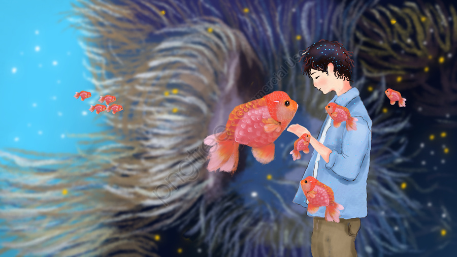 Simple And Fresh Cure For Deep Sea Whale Illustration, Boy, Goldfish, Seaweed llustration image