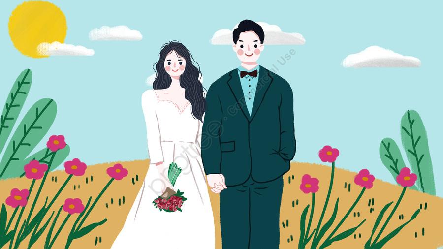 Wedding Scene A Happy Groom Bride, Bride And Groom, Marry, Wedding llustration image