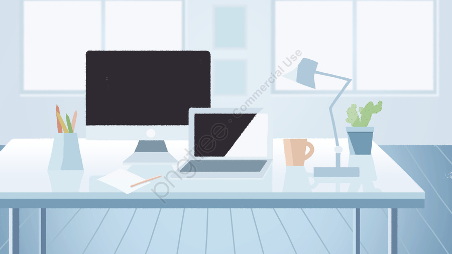 Business Office Scene Furnishings Illustration Fresh And Elegant, Business, Business Office, Office Scene llustration image