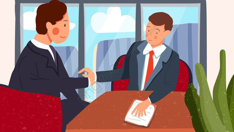 ビジネス協力男上司握手オフィスフラットスタイルの図, 事業協力, 男, ボス llustration image