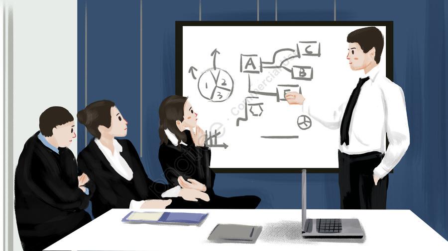 व्यापार कार्यालय की बैठक चित्रण, व्यापार कार्यालय, बैठक, चित्रण llustration image
