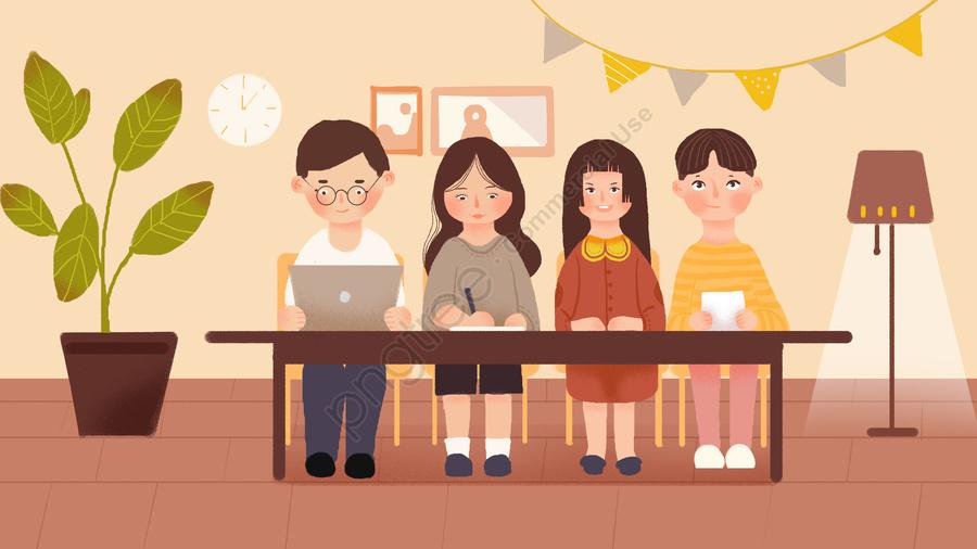 Business Office Meeting Scene Illustration, Business, Office, Meeting llustration image
