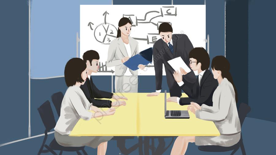 व्यापार कार्यालय की बैठक चित्रण, व्यापार कार्यालय, बैठक, दफ्तर llustration image