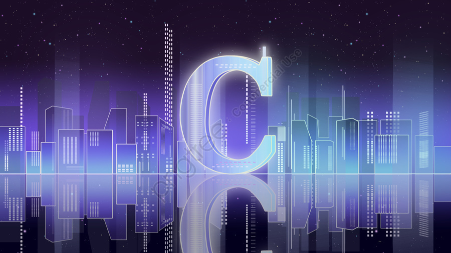 Letter 邂逅c Gradient City Night Atmosphere Technology Blue Illustration Poster, C, Letter 邂逅, Gradient City llustration image