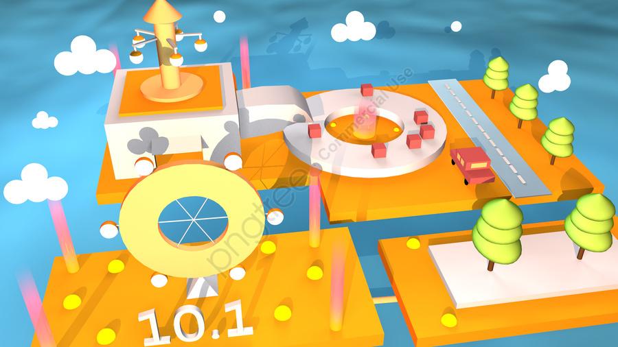 C4d простой праздник Национальный Happy 2 5d сцена иллюстрация, C4d моделирование праздничной сцены, 2.5d иллюстрация сцены праздника, Национальный день llustration image