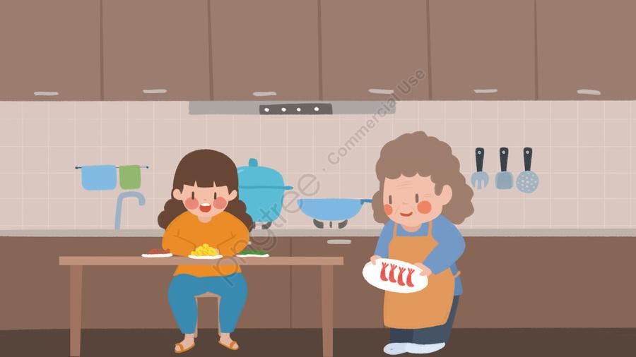 お年寄りの世話は、母親の同伴の子供が子供のイラストを食べるのを見るためによく家に帰ります。, 高齢者の世話, キッチン, 食べる llustration image