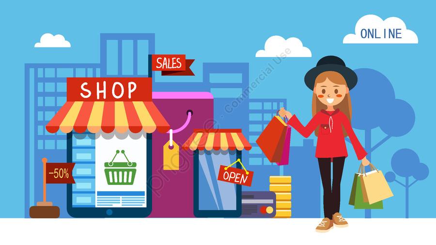 Cartoon flat girl online e-commerce shopping offer illustration, Cartoon, Flat, Double Eleven llustration image