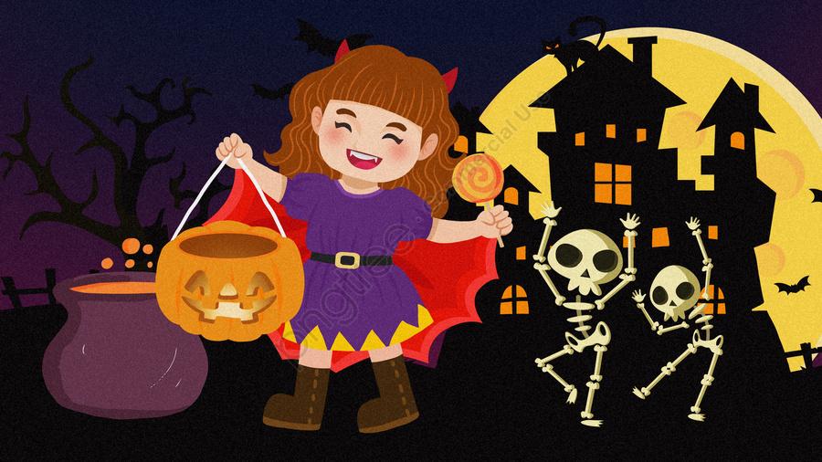 Cartoon halloween pumpkin vampire girl illustration, Phim Hoạt Hình Halloween Minh Họa, Minh Họa Halloween, Dễ Thương Halloween Minh Họa llustration image