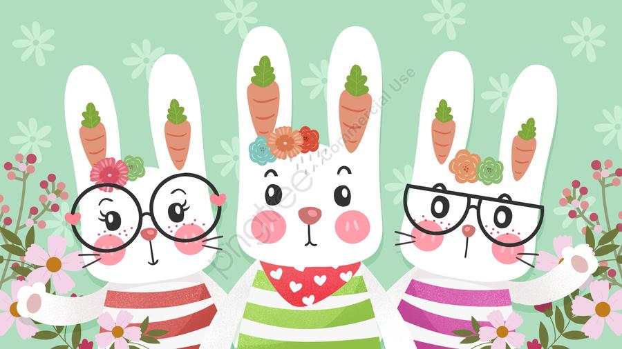 Cartoon cute little rabbit illustration, Cartoon, Lovely, Rabbit llustration image