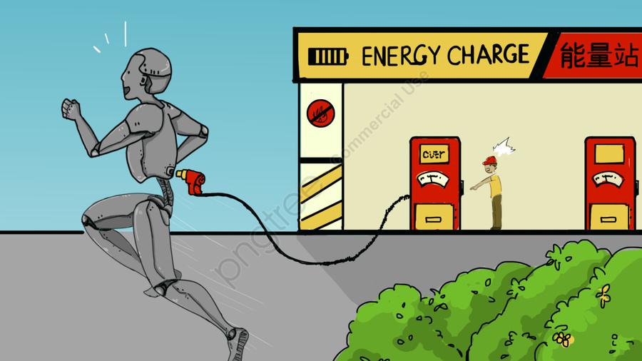 Cartoon-style future world self-conscious robot, Cartoon Style, Future World, Science Fiction llustration image