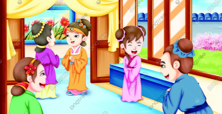 Ancient Famous Red Building Dream Picture Book Figure 7, Character, Culture, Lovely llustration image