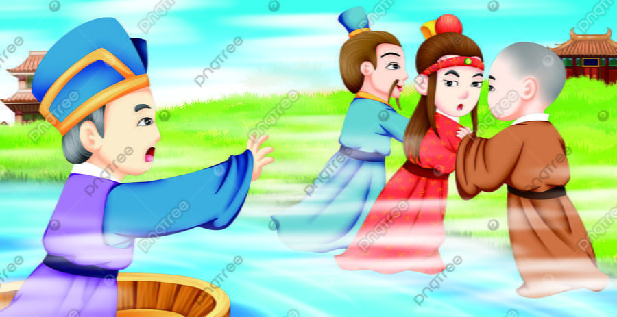 Ancient Famous Red Building Dream Illustration Picture Book Figure 9, Character, Monk, Go Away llustration image
