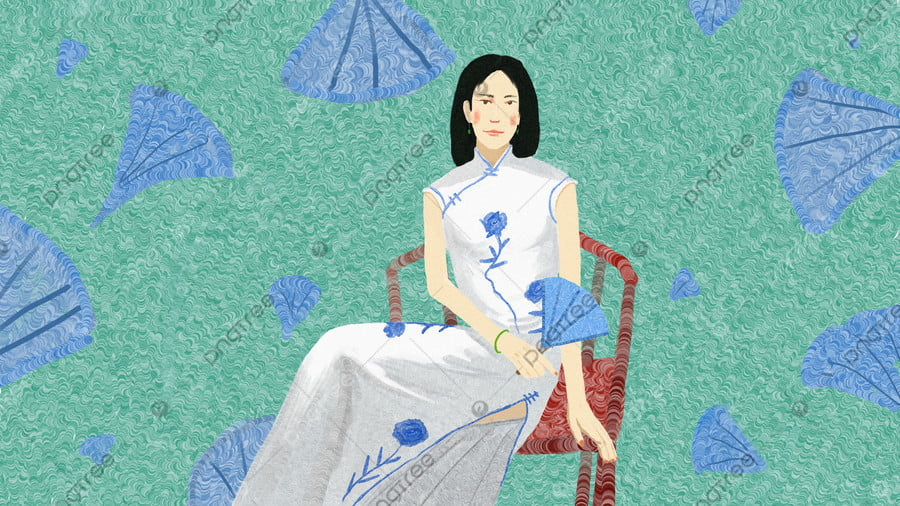 Cheongsam woman original illustration, Cheongsam, Chinese Style, Republic Of China llustration image