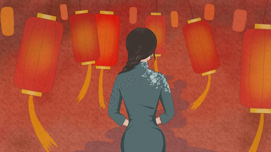 Original Illustration Of A Woman Wearing Cheongsam And Red Lantern, Cheongsam, Woman, Back View llustration image