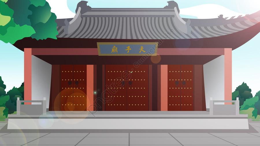 Tòa Nhà Lịch Sử Phong Cách Trung Hoa Đền Khổng Tử, Phong Cách Trung Quốc, Tòa Nhà Lịch Sử, Tòa Nhà llustration image