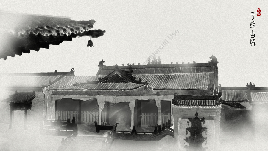 Chinese Style Pingyao Ancient City Ink Illustration, Chinese Style, Tourist Attraction, Shanxi llustration image
