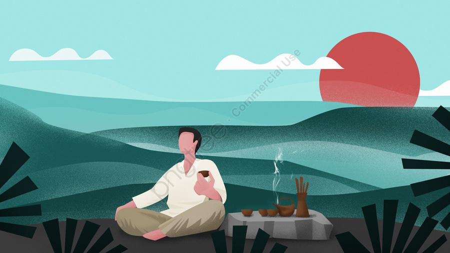 Original Chá Chinês Cerimônia Calmamente Gosto Vida Ilustração, Cerimônia Do Chá Chinês, Gosto, Vida llustration image