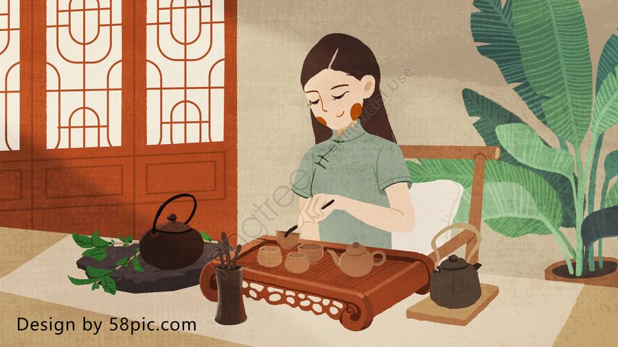 Китайская чайная церемония оригинальная ручная роспись небольшая свежая иллюстрация, Китайская чайная церемония, чай, Чайная культура llustration image