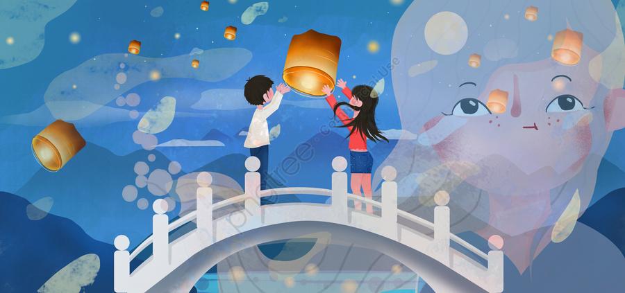 Tết Trung Thu Cầu Nguyện Cho Lễ Kỷ Niệm Của Khổng Tử, Trung Quốc Cầu Nguyện, Đèn Lồng Kongming, Tưởng Niệm llustration image