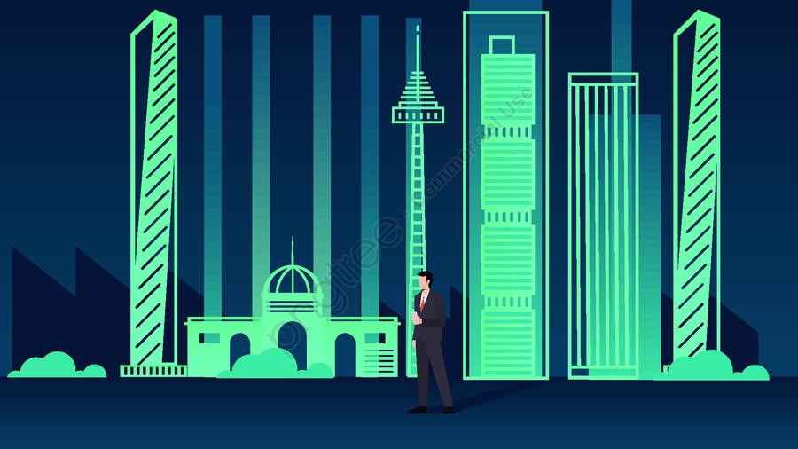 City silhouette colorful night view illustration, Thành Phố Bóng, Huỳnh Quang Xanh, Độ Dốc llustration image