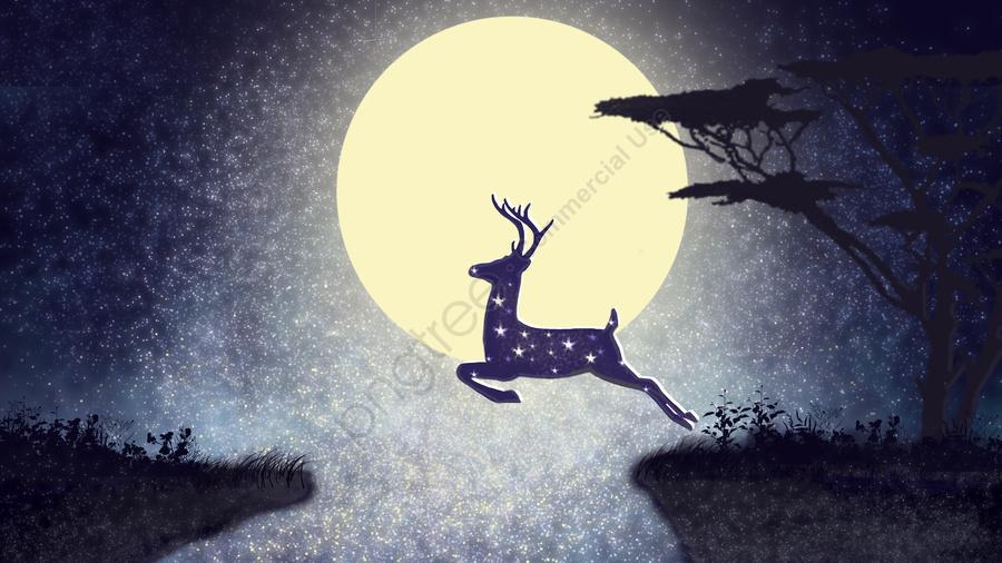 Deer jumping on a cliff, Cliff, Forest, Deer llustration image