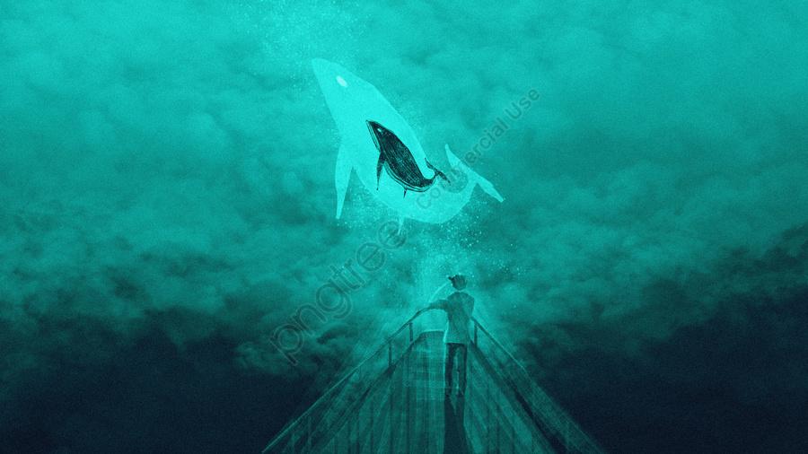 Whale Jump Cloud Original Illustration, Cloud Sea, Whale, Bow llustration image