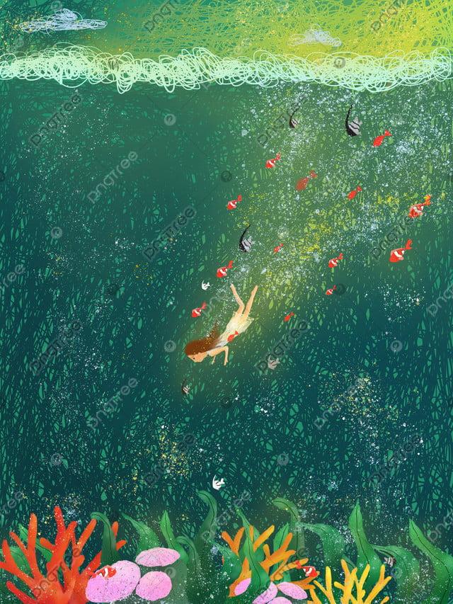 Ilustrasi Gegelung Gadis Laut Dalam, Ilustrasi Gegelung, Sekolah Ikan, Gadis Laut Dalam llustration image