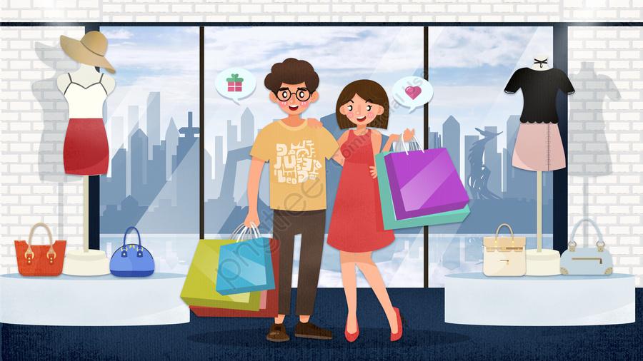 사랑 커플 쇼핑 그림 데, 커플 매일, 커플, 쇼핑 llustration image