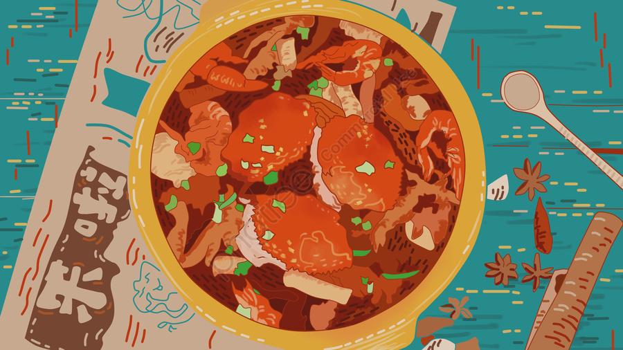 カニの食事、食べ物、グルメ、シーフード、昼と夜、テクスチャ、暖かいイラスト, カニの食事, 食べ物, 遅くまで起きている食べ物 llustration image