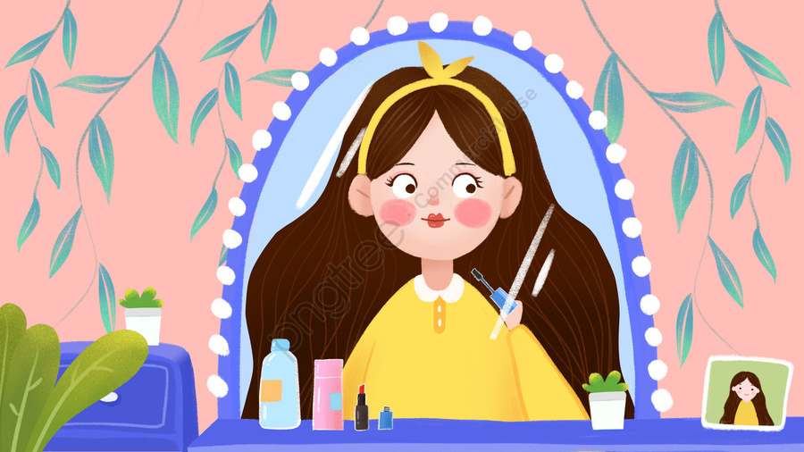 Cartoon Cute Girl Home Skin Care Makeup Small Fresh Illustration, Cute Cartoon, Make Up, Skin Care llustration image