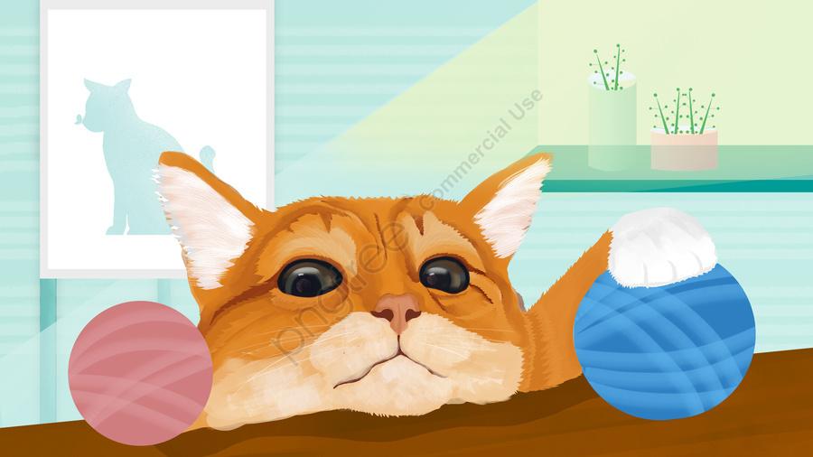 Cute pet pet Cat Orange cat, Ball, Sunlight, Windowsill llustration image