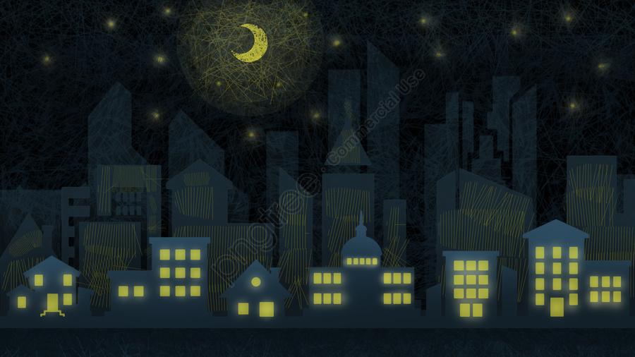 मिडनाइट सिटी गुड नाइट स्टाररी मून, सजावटी पेंटिंग, पृष्ठभूमि, वॉलपेपर llustration image