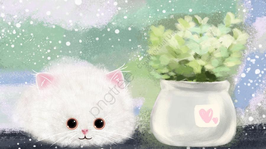 बिल्ली प्यारा कार्टून का बच्चा पालतू जानवर पौधा, सजावटी पेंटिंग, सजावट, पृष्ठभूमि llustration image