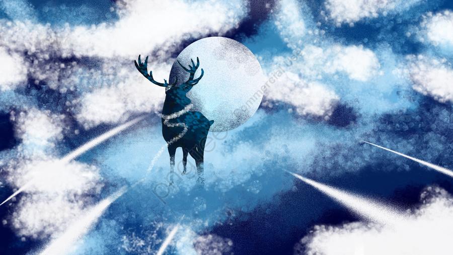 손으로 그려진 치료 그림 깊은 숲 사슴 하늘 흰 구름 달을 참조하십시오, 장식 그림, 꿈, 아름다운 llustration image