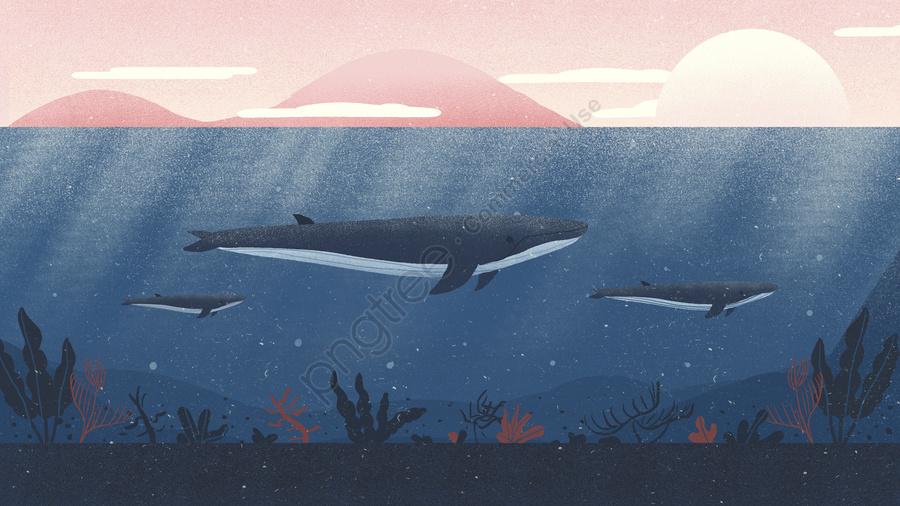 深海クジラの夢の治療イラスト, 深海, クジラ, 夢 llustration image