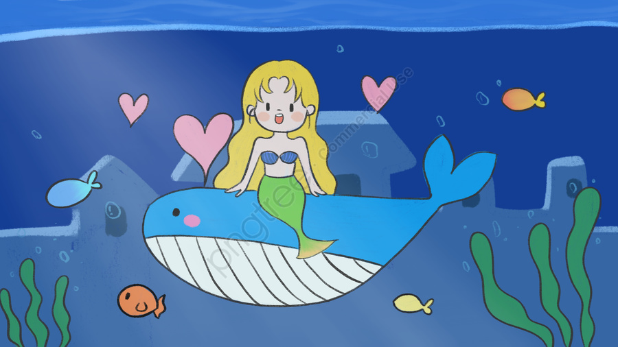 キュアマーメイドとクジラの出会い子供漫画かわいいイラスト, 深海のクジラ, 人魚, 小魚 llustration image